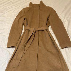 Uniqlo Stand Collar Wrap Coat, Camel, Size M, EUC